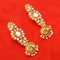 Party Wear Gold Toned Kundan Dangler Jhumka Earrings - Yellow Chimes