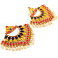 Ethnic Gold Toned Meenakari Chandbali Earrings Combo - Yellow Chimes