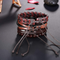 Retro Cowhide Woven Wrap Natural Beads Leather Bracelet - Yellow Chimes