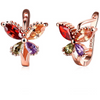 Flying Butterfly Rose Gold Toned Crystal Earrings - Yellow Chimes