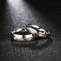 Stainless Steel Crystal Proposal Couple Rings - Yellow Chimes