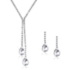 Exclusive Silver Toned Sparkling Crystals Necklace Set - Yellow Chimes