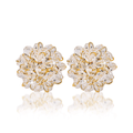 Sparkling Crystal Bunch Gold Toned Stud Earrings - Yellow Chimes
