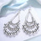 Silver Toned Layered Statement Chandelier Earrings - Yellow Chimes