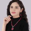 oxidised Silver Ethnic Pink Quartz Beads Necklace Set - Yellow Chimes