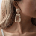 Designer Geometric Square Sparkling Drop Earrings Combo - Yellow Chimes