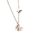 Rose gold plated stainless steel butterfly stardust pendant - Yellow Chimes