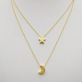 Gold Toned Dual Layer Moon Star Choker Necklace - Yellow Chimes