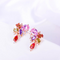Swiss Zircons Bouquet Crystal Rose Gold Toned Earrings - Yellow Chimes