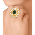 Ethnic Kundan Studded Gold Toned Cocktail Kundan Ring - Yellow Chimes