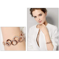 Circles of Love Rose Gold Toned Crystal Charm Bracelet Earrings Combo - Yellow Chimes