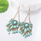 Trendy Retro Fringed Sea Green Dangler Earrings - Yellow Chimes