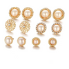 Gold Toned Pearl Crystal Stud Combo Earrings - Yellow Chimes