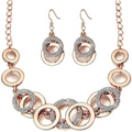 Circles of Love Rose Gold Toned Crystal Charm Necklace Set - Yellow Chimes