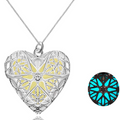 Glow-in-the-dark Silver Toned Heart Locket Pendant - Yellow Chimes