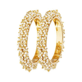 Traditional Gold Toned Pearl Studded Moti Bangles Set - Yellow Chimes