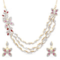 AD Luxurious Looks Gold Plated Rani Haar Multilayer Necklace Set.