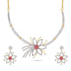 AD Classic White Gold Plated Floral Designer Choker Necklace Set.