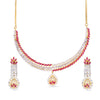 AD Classic Pink Gold Plated Designer Choker Necklace Set.