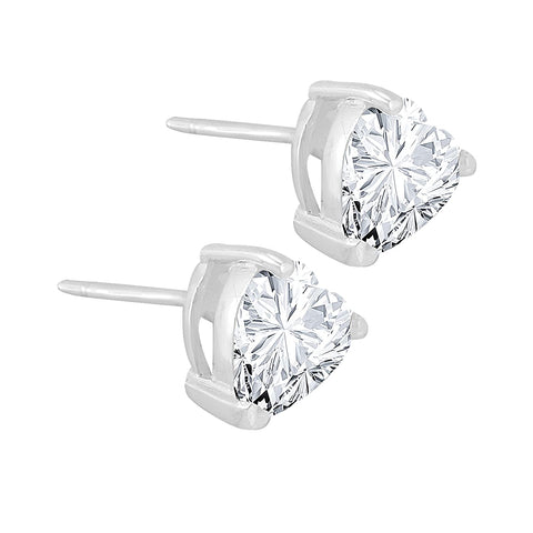 925 Silver Certified Purity Heart Crystal Stud Earrings - Yellow Chimes