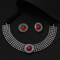 German Silver Oxidised Floral Crafted Traditional Choker Necklace Set.