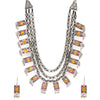 Afghani German Silver Oxidised Turkish Multilayer Necklace Set.