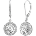 Silver Toned Swarovski Crystal Round Designer Earrings - Yellow Chimes