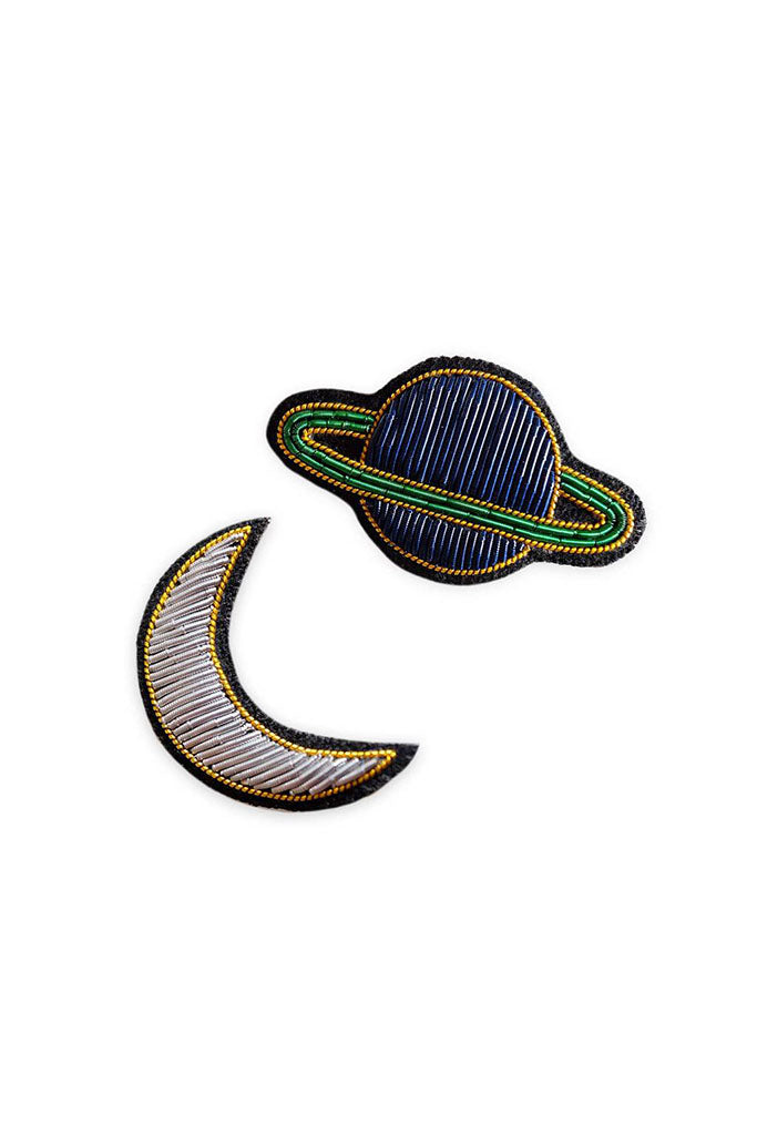 Moon & Saturn Embroidered Bullion Pin