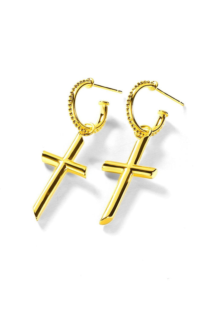 The Freedom Cross Earring // Gold
