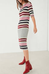 Porter Knit Dress // Burgundy Pink Stripe