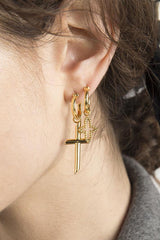 The Satisfaction Cross Earring // Gold