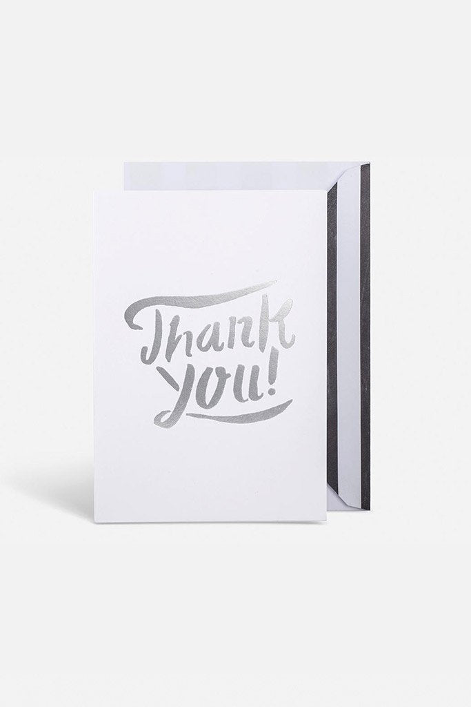 Thank You Card // White & Silver