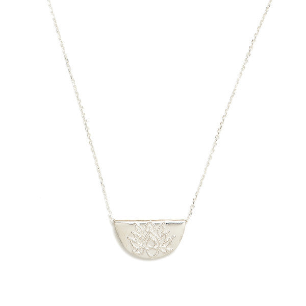 Lotus Short Necklace // Silver