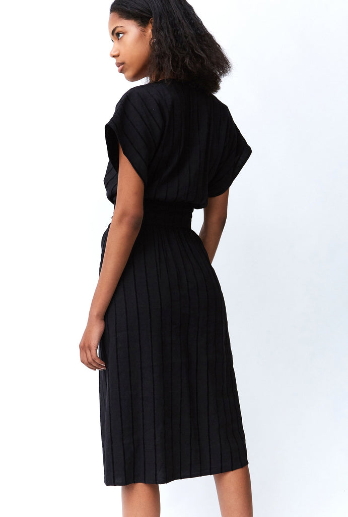 Tied In Front Dress // Black Stripe