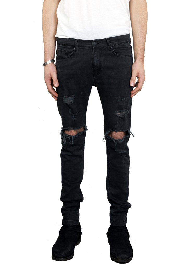 1990 Destroyed Denim Jean // Faded Black