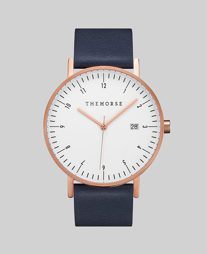 The D Series // Navy - White - Brushed Rose Gold