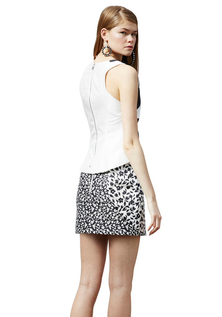 Monochrome Liberty Slit Mini Skirt // Black & White