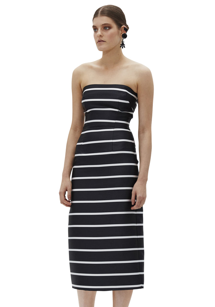 Bold Stripe Structured Strapless Dress // Black & White
