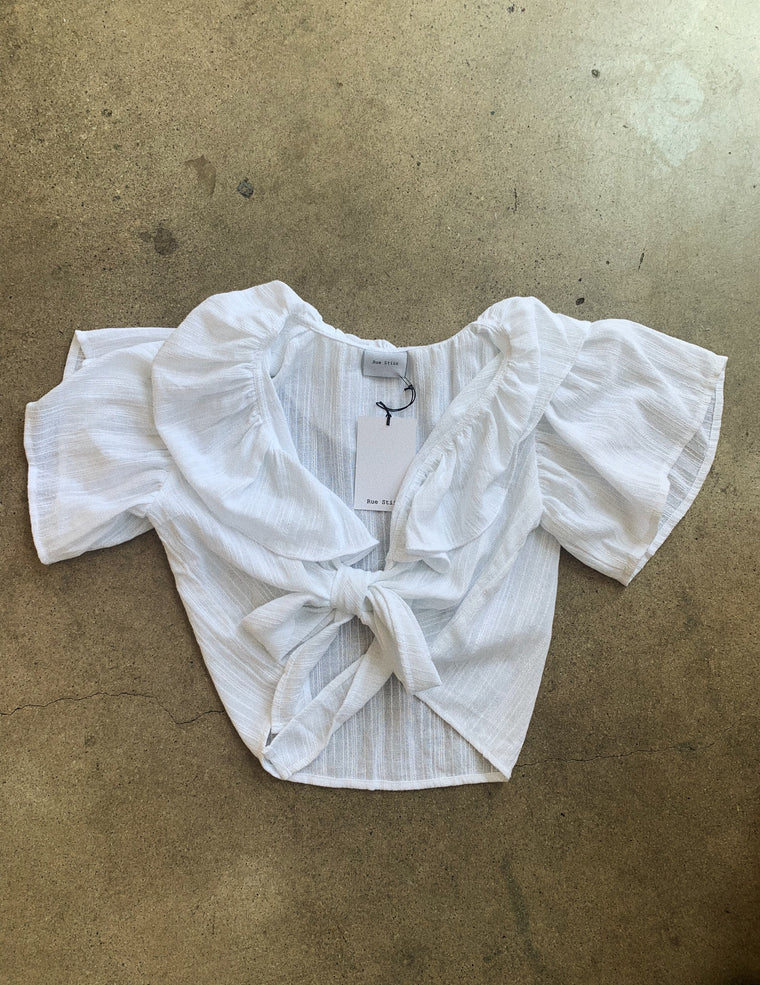 Bobby Ruffle Shirt // White Stripe