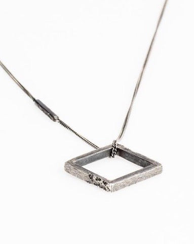 Square Necklace // Oxidized Sterling Silver