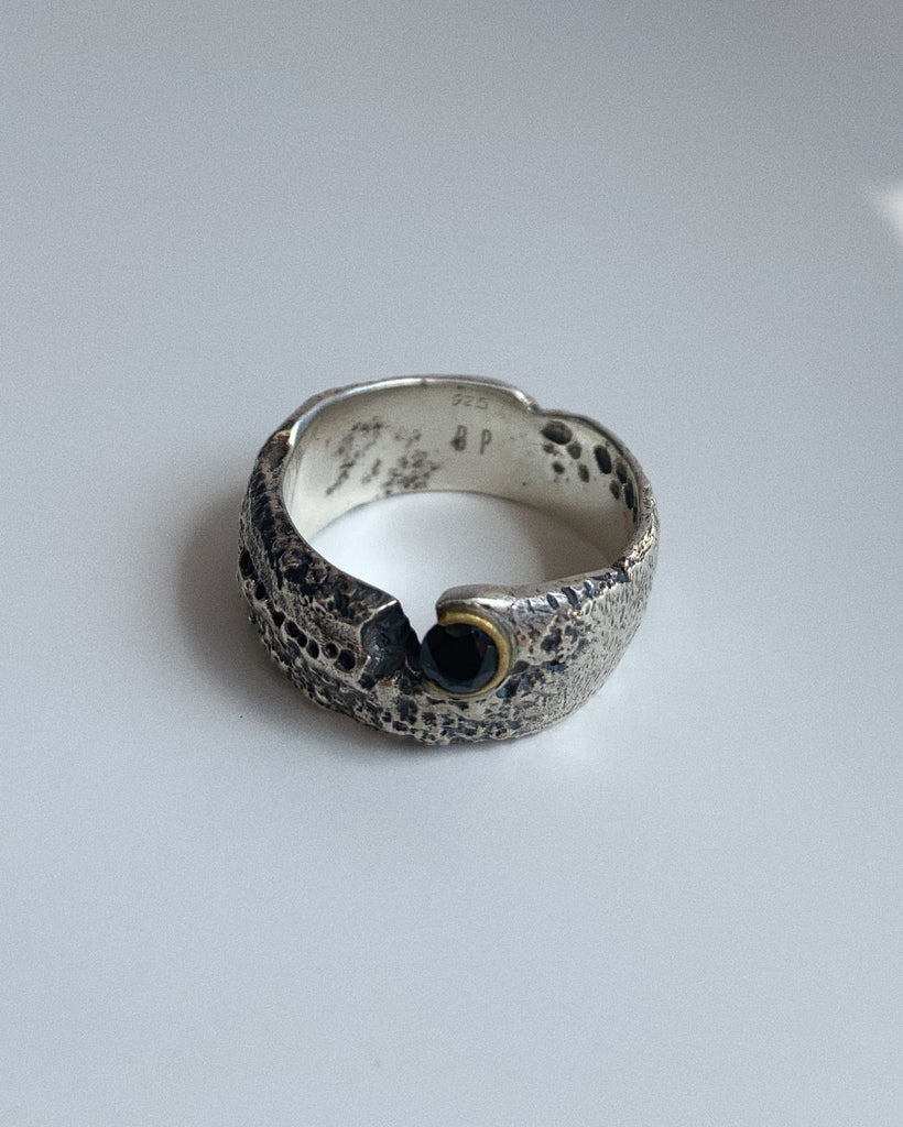 Rustic Ash Ring with Black Onyx // Oxidized Sterling Silver