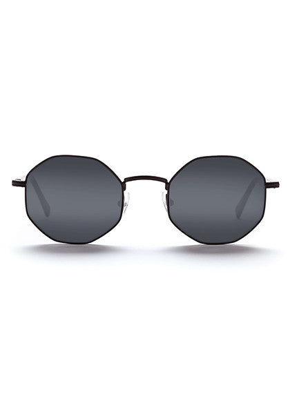 Fabio // Brushed Matte Black Metal / Solid Semi-Matte Black Temples with Black Mirror Lens