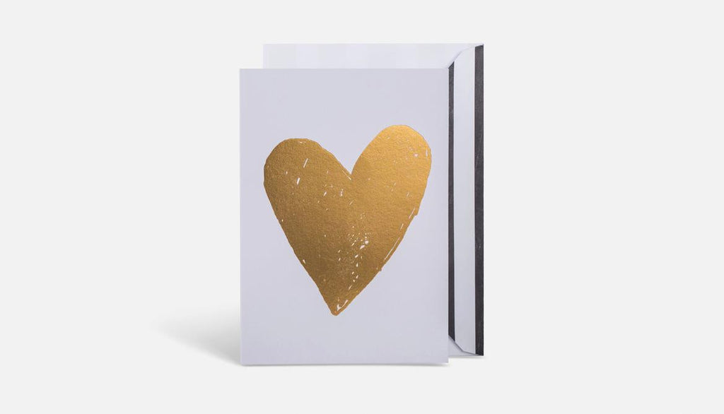 Heart Card // White & Gold
