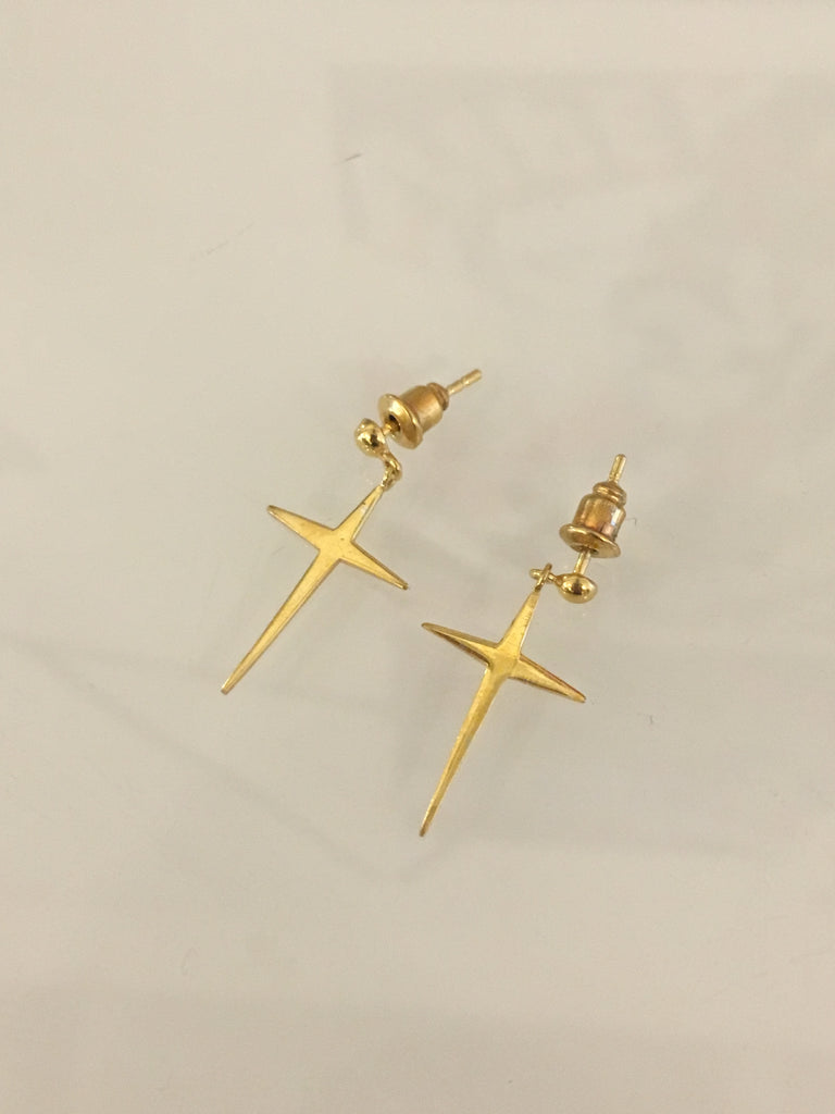 Lilani Cross Earrings // Gold