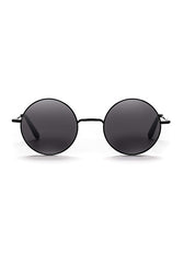 Junita // Brushed Matte Black Metal / Gloss Black Temples with Solid Darkest Black Lens