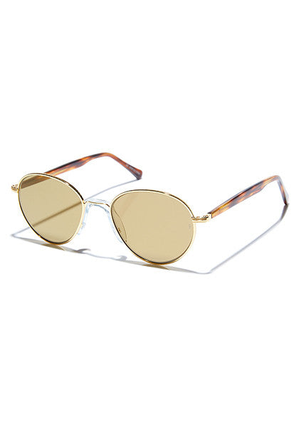 Komang // Polished 22C Gold Metal / Gloss Choc Tort Temples with Bronze Mirror Lens