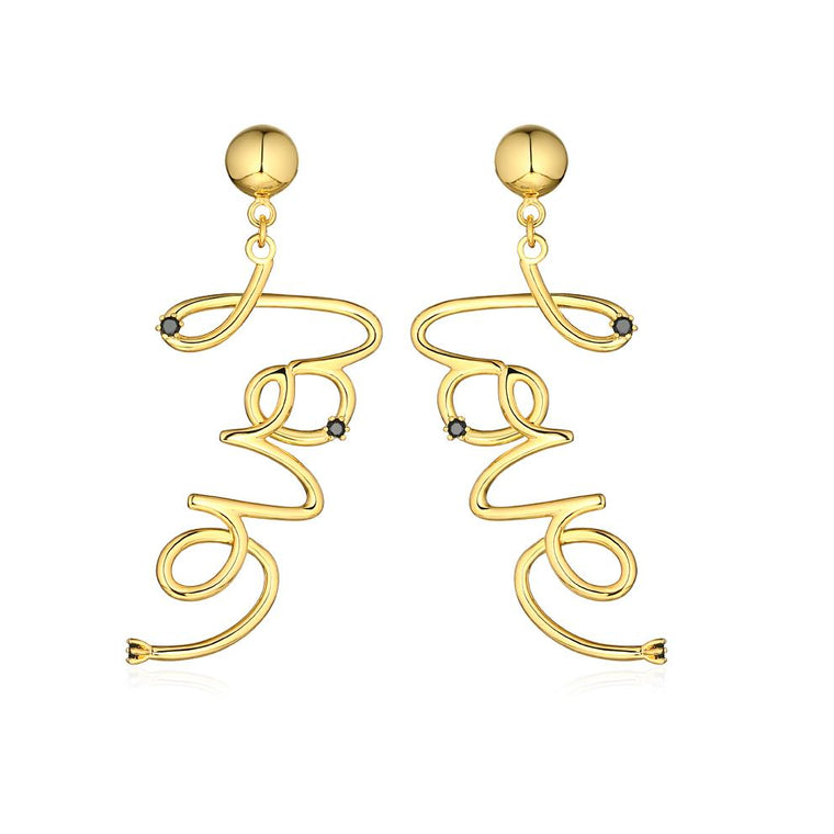 Love Earrings // Brass + 18K Gold + Onyx