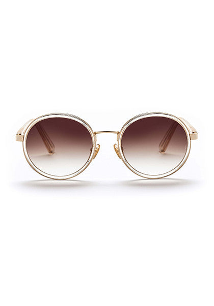 Ned // Gloss Crystal / Antique Gold Metal with Gradient Dark Brown Lens