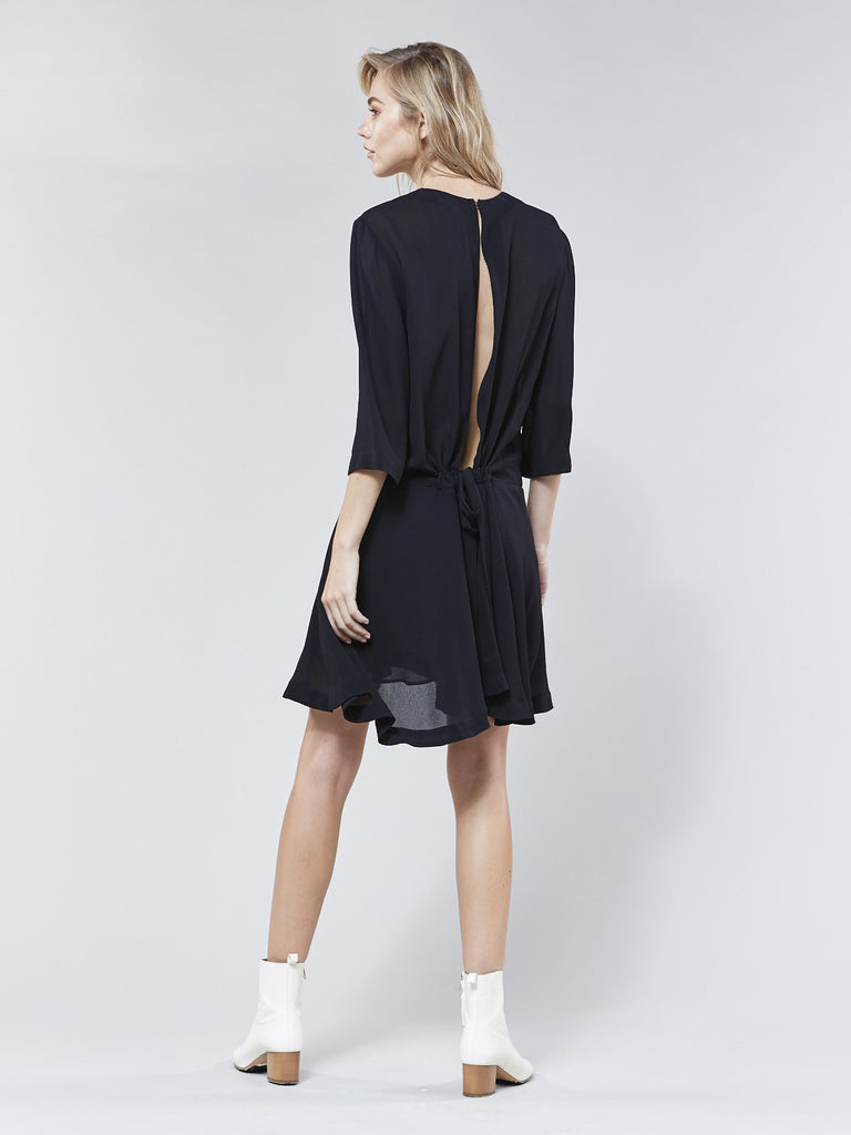 The Ray Open Back Dress // Black