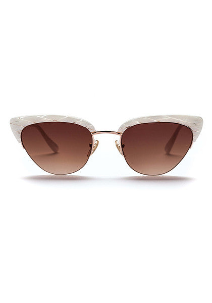 Pixie // Gloss Mother of Pearl / Polished Rose Gold Metal with Gradient Dark Brown Lens